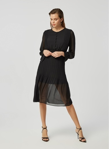 Monamoda Piliseli Midi Boy Şifon Elbise Siyah
